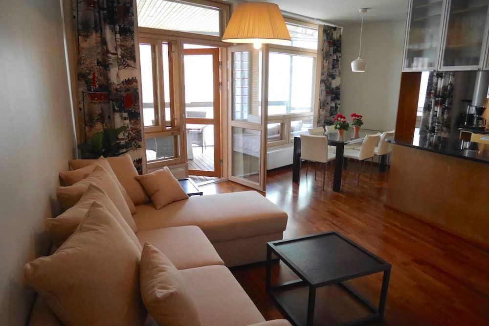 Luksushuoneisto, 2 makuuhuonetta, Sauna, Kaupunkinäköala - Olohuone