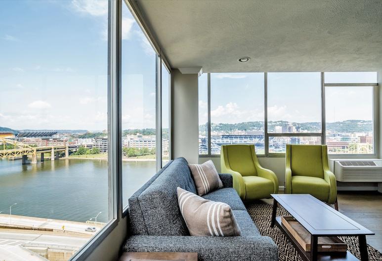 Stay Alfred at The Venue, Pittsburgh, Eenvoudig appartement, 2 slaapkamers, Woonruimte