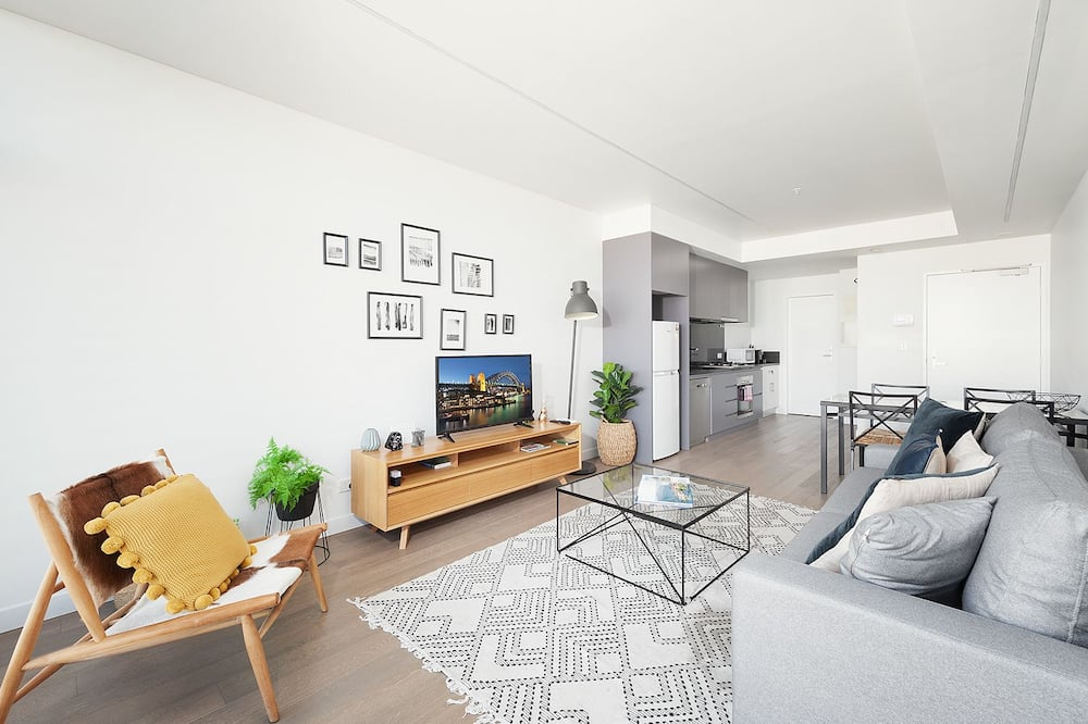 Apartamentai, 1 miegamasis, atskiras vonios kambarys, vaizdas į miestą - Svetainės zona