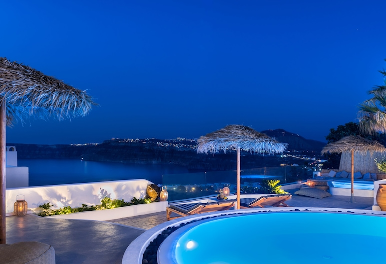 Summer Lovers Villa, Santorini, Summer Lovers Villa Private Pool - Private Spa and Panoramic Caldera View, Front of property - evening