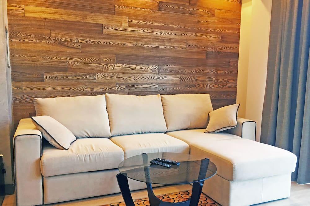 Išskirtinio dizaino apartamentai, 1 didelė dvigulė lova ir 1 sofa-lova (12) - Svetainė