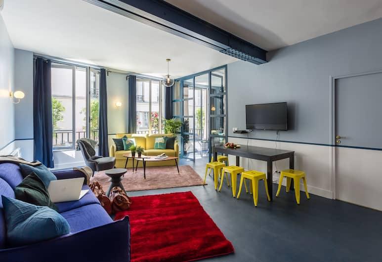 羅浮博物館豪華 3 房 2 衛閣樓飯店, 巴黎, 奢華公寓, 多張床, 非吸煙房, 客廳