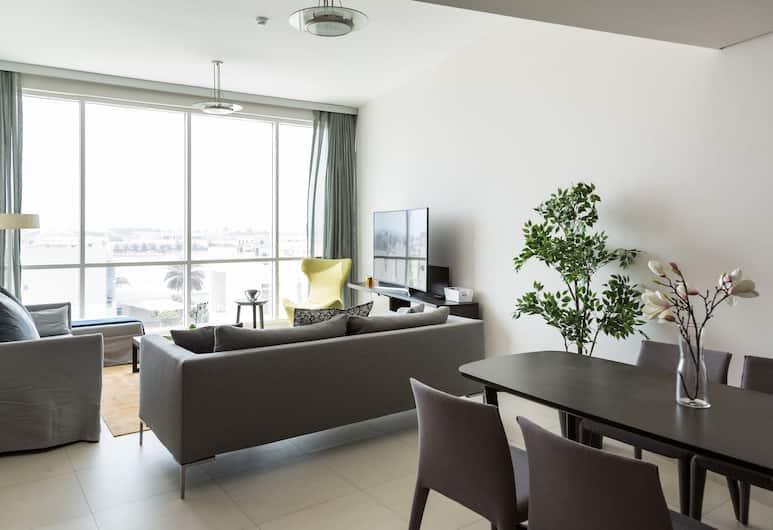 Higuests Vacation Homes - Hilliana Tower, Dubajus, Romantiško stiliaus apartamentai, 1 miegamasis, Įėjimas į baseiną, Svetainė