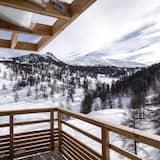 Habitación doble Deluxe, 1 cama King size, chimenea, vista a la montaña - Balcón