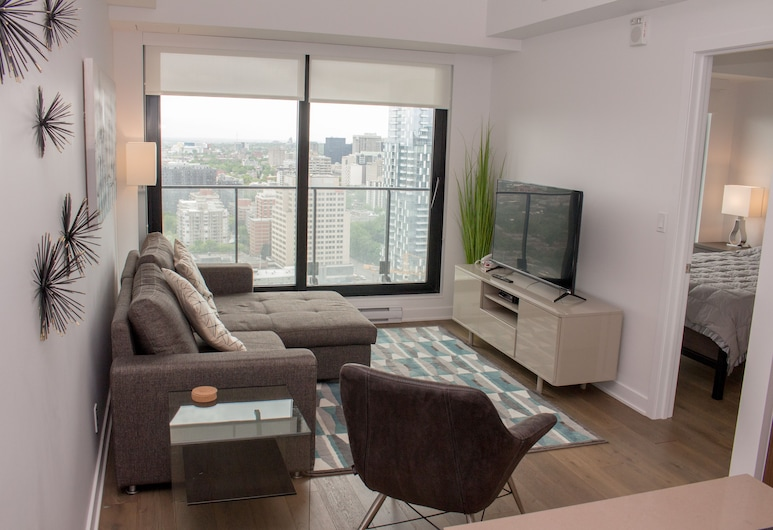 Luxury Canadian Sky Condos, Montreal, Luxury-Apartment, Stadtblick, Wohnzimmer