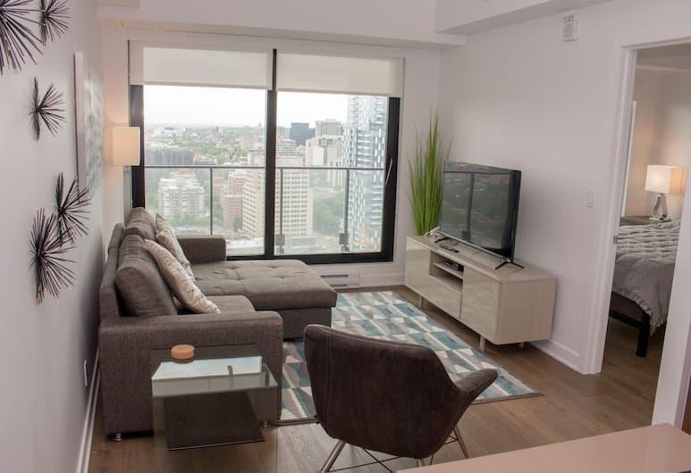 Luxury Canadian Sky Condos, Montréal, Appart'hôtel Luxe, vue ville, Salle de séjour