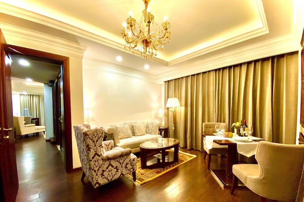 Suite Luxe, 1 très grand lit, fumeurs - Salle de séjour
