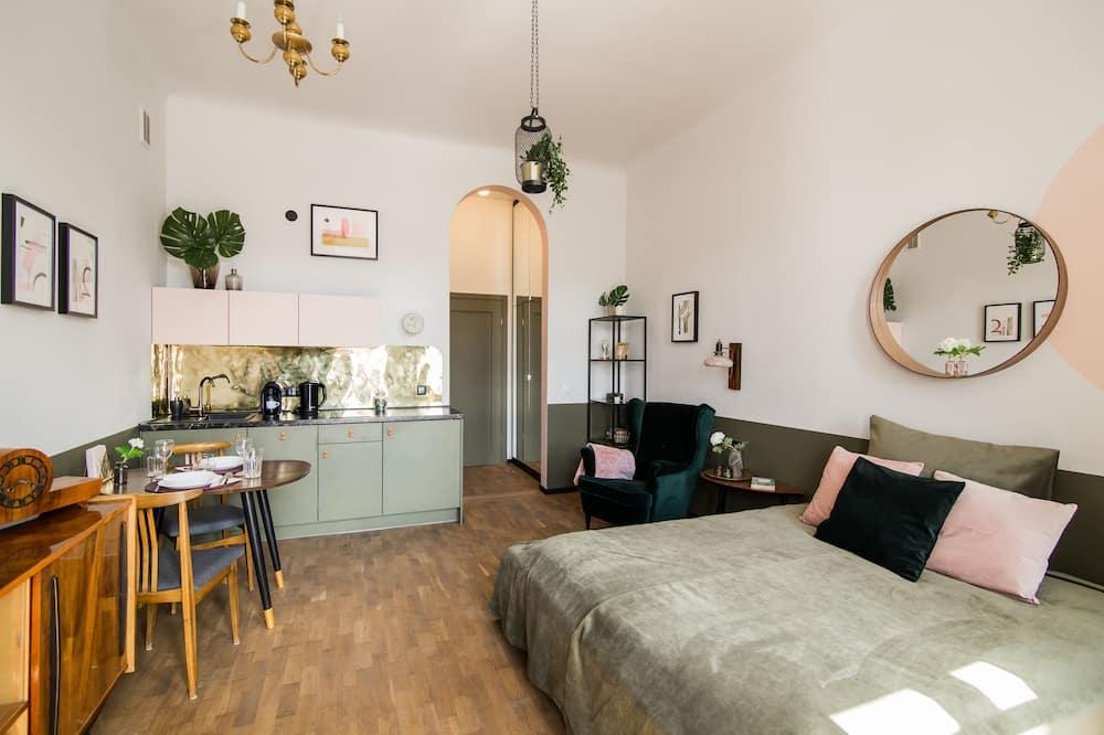 Dzīvokļnumurs ar papildu ērtībām, viena guļamistaba, balkons - Dzīvojamā zona