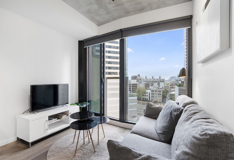 DreamHost Apartments at Carlson View, Melbourne, DreamHost at Carlson View 9 - Apartment, 2 Bedrooms, City View, Living Room