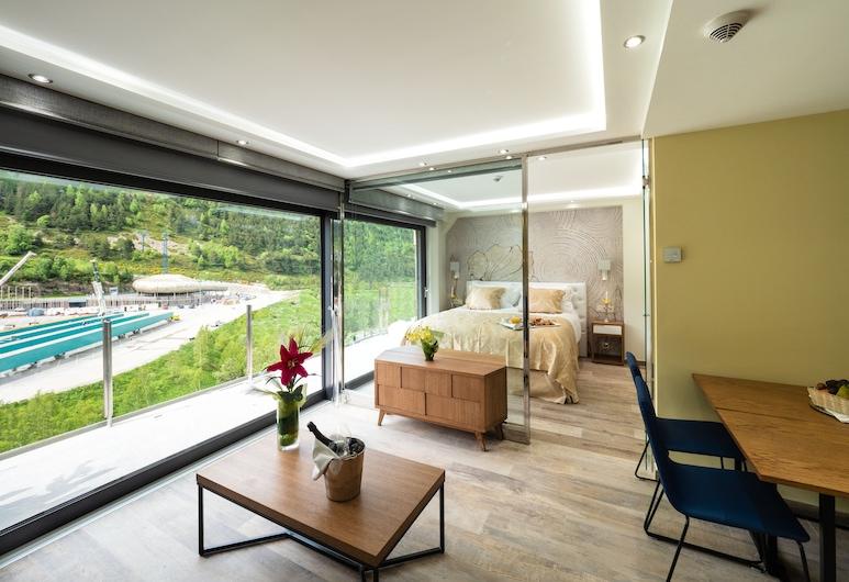Aparthotel Esquirol, El Tarter, Deluxe Apartment, 2 Bedrooms, Mountain View, Living Area