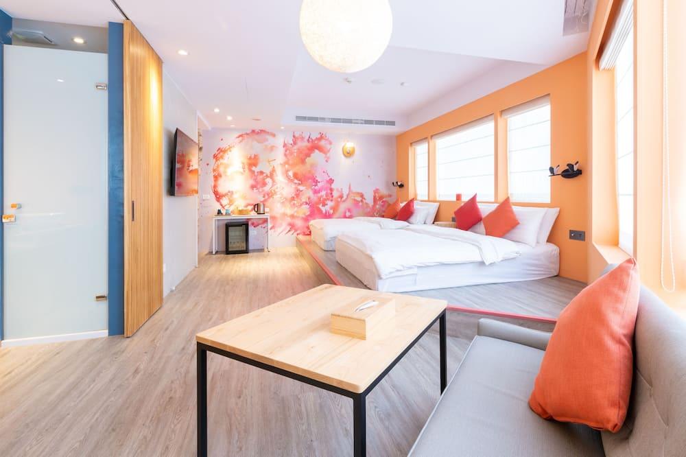 Chambre Quadruple Galerie, 2 grands lits, non-fumeurs, baignoire - Chambre