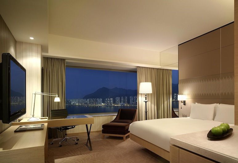 Hyatt Regency Hong Kong, Sha Tin, Sha Tin, Kambarys, 1 labai didelė dvigulė lova, vaizdas į uostą, Svečių kambarys