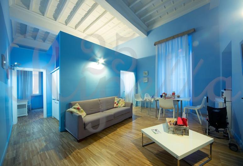Ripetta 25, Rím, Apartmán typu Grand, 2 kúpeľne (6 pax - Acqua Marina), Obývačka