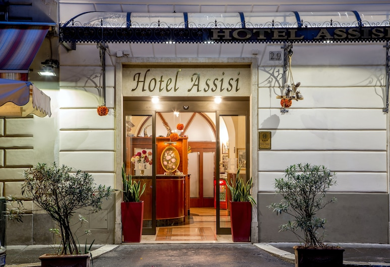 Hotel Assisi, Rome, Hotel Front – Evening/Night