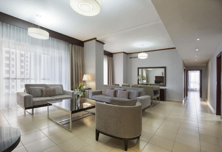 Suha Hotel Apartments by Mondo, Dubai, Deluxe Apartment, 3 Bedrooms, Living Area