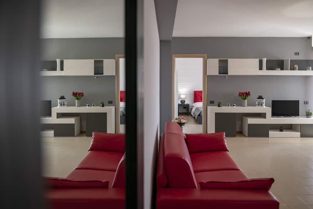 高級公寓, 1 間臥室, 陽台, 海景 - 客廳