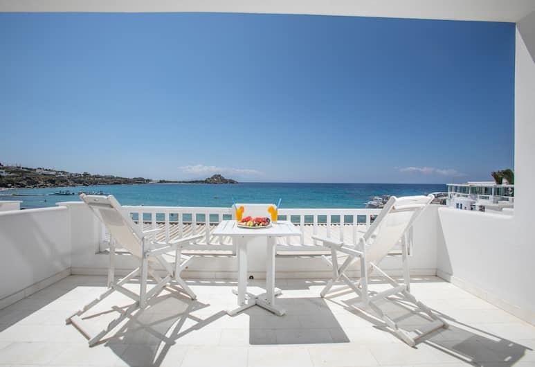 Acrogiali Beach Hotel, Mykonos, Deluxe-rum - 1 queensize-säng - balkong - havsutsikt, Utsikt från gästrum