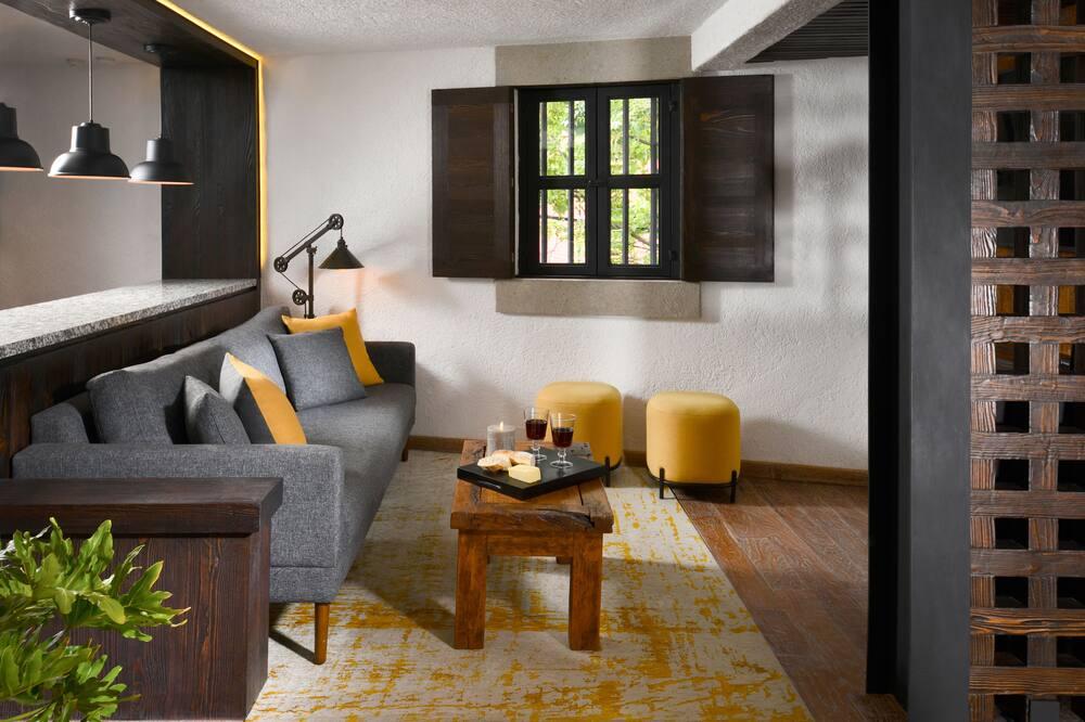 デザイン ロフト クイーンベッド 2 台 禁煙 簡易キッチン - リビング エリア