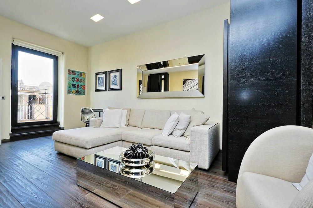 Namas, 2 standartinės dvigulės lovos, vaizdas į miestą (Vittoria Luxury Apartment) - Svetainės zona