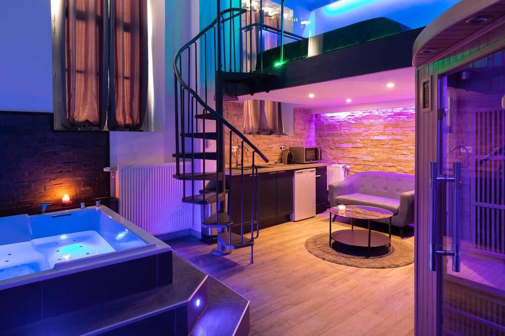 Deluxe Apart Daire, Sıcak Su Havuzu (Spa-Privatif) - Dinlenme salonu