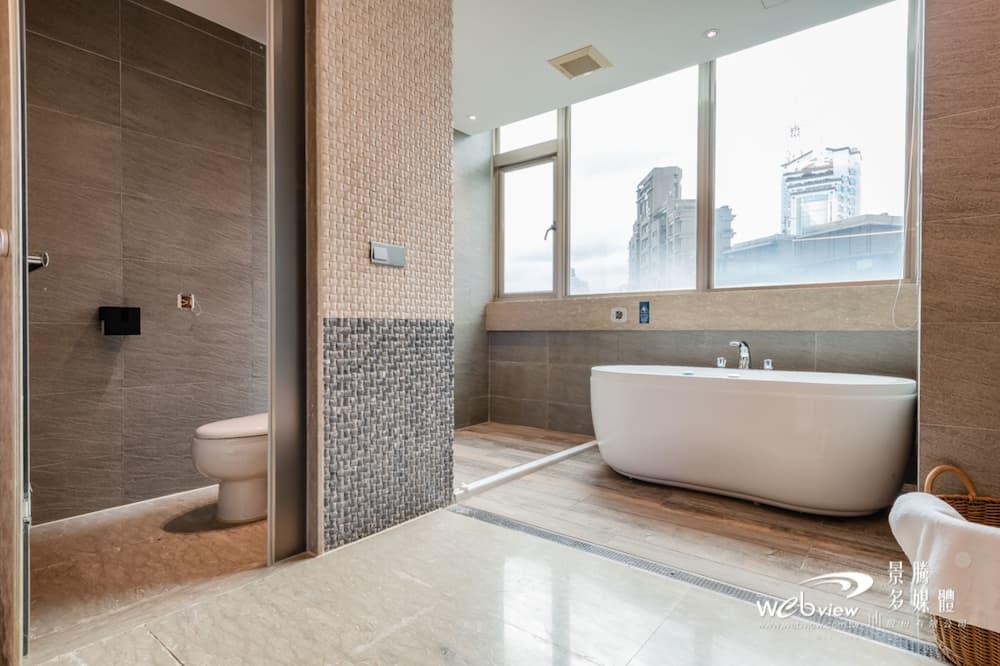 Chambre Quadruple Familiale, plusieurs lits, baignoire, vue ville (若有加床需求,請事先聯繫) - Salle de bain