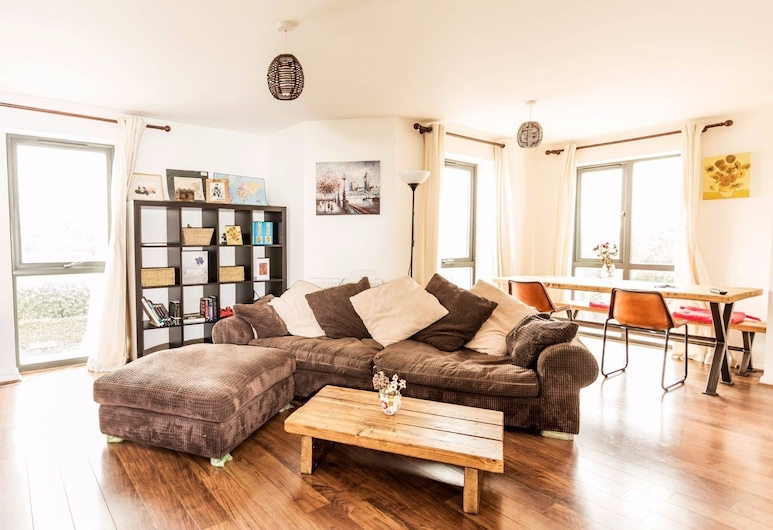 Beautiful and New Home for 5 in West Cambridge, Cambridge, Íbúð (2 Bedrooms), Stofa