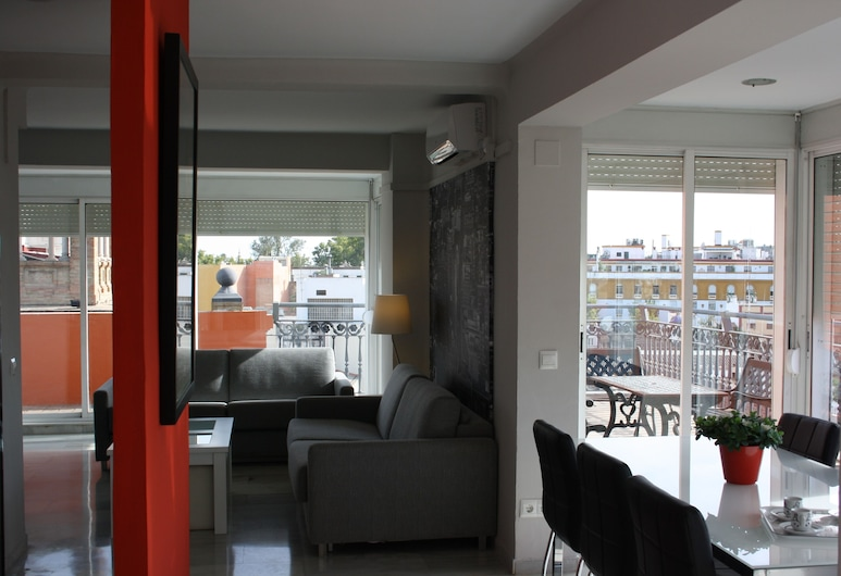Apartamentos Avenida, Sevilla, apartman, 2 hálószobával (Atico), Nappali