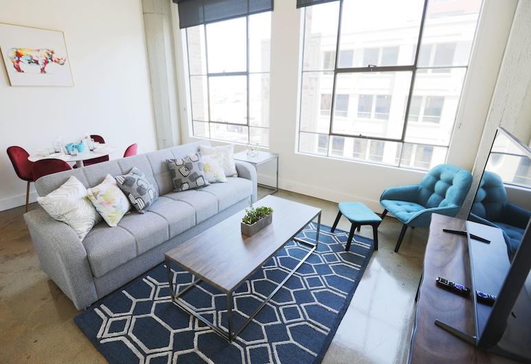 Downtown Lofty Suites, Los Angeles, Štúdio typu Deluxe, 1 veľké dvojlôžko s rozkladacou sedačkou, výhľad na mesto, Izba