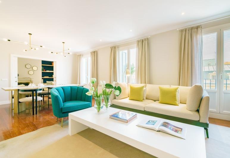 Home Club Velázquez X, Madrid, apartman, 4 hálószobával, erkély, kilátással a városra, Nappali