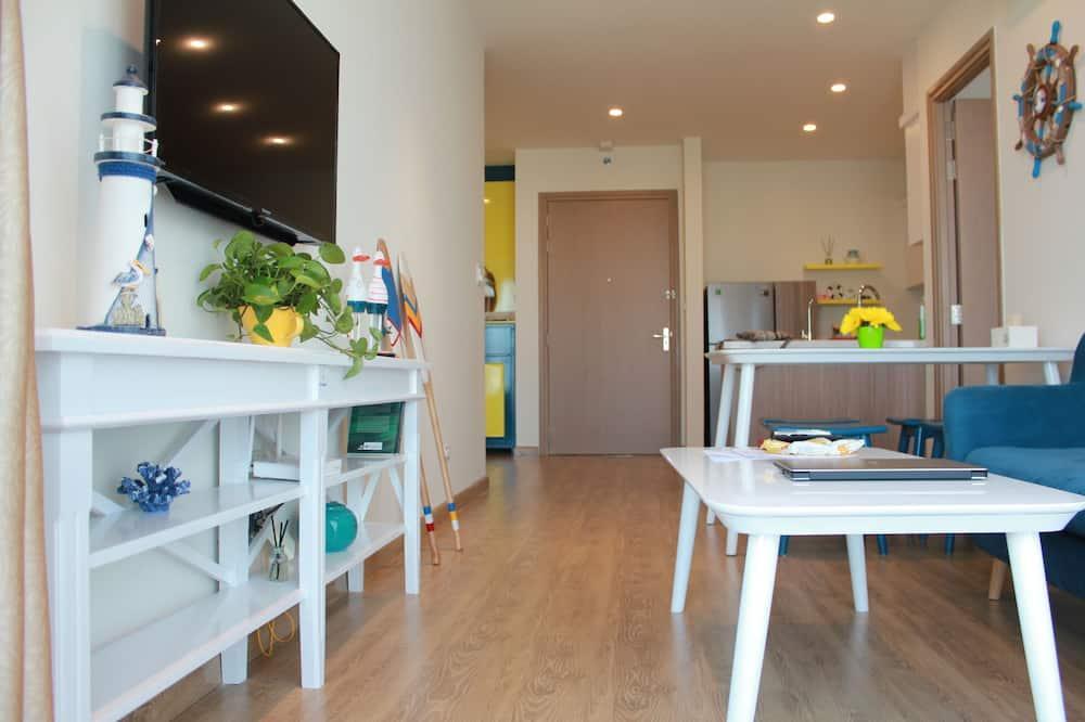 Premium appartement, 2 slaapkamers, Uitzicht op de baai, Aan zee - Woonruimte