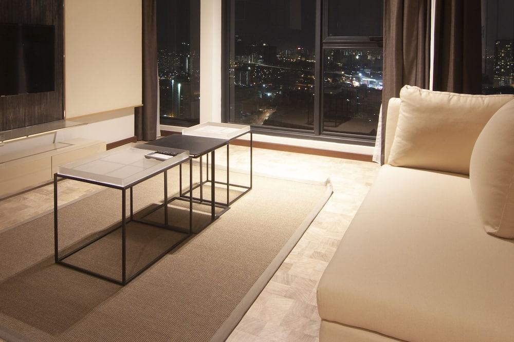 Premium-Apartment, 2Schlafzimmer, barrierefrei, Nichtraucher - Wohnzimmer