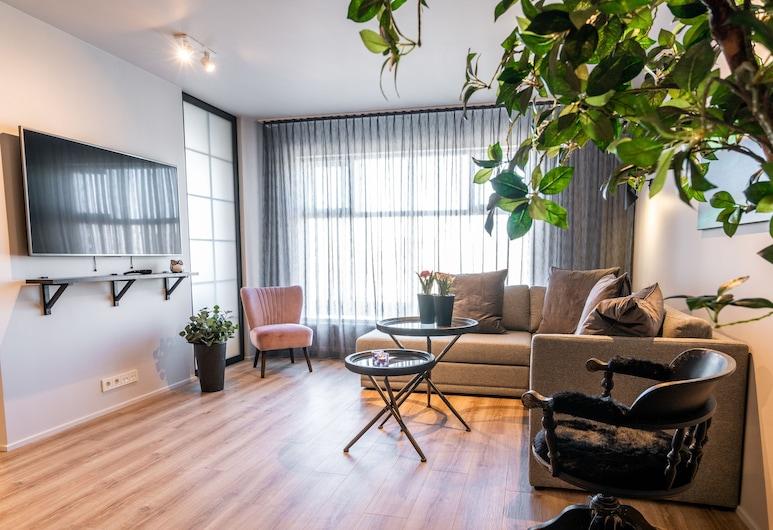Keflavik Luxury Apartments, Reykjanesbaer, Apartamento, 2 habitaciones (Aurora Suite), Zona de estar