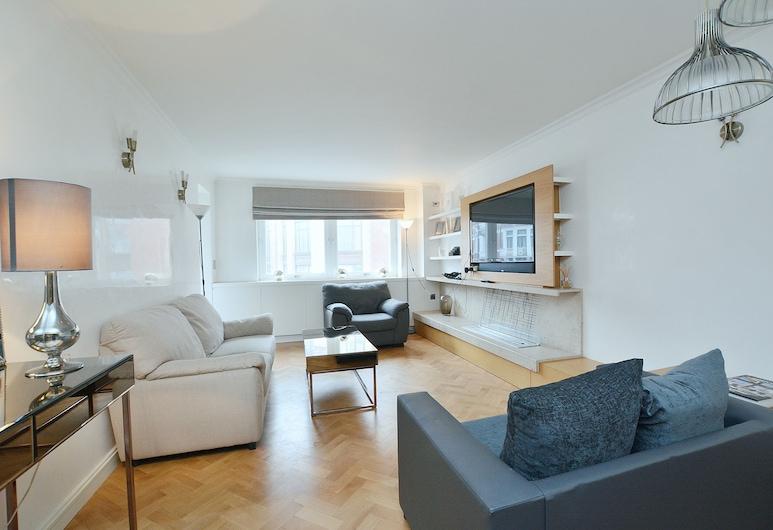 Hans Crescent Apartment, London, Basic-Apartment, 2Queen-Betten, Nichtraucher, Stadtblick, Wohnzimmer