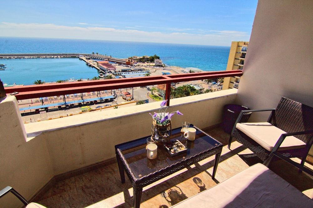 Departamento panorámico, 1 habitación, acceso a la piscina, frente al mar - Balcón