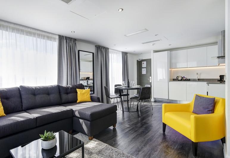 Dockside Apartments at Excel, Londýn, Apartmán, 1 ložnice, výhled na řeku, Obývací prostor