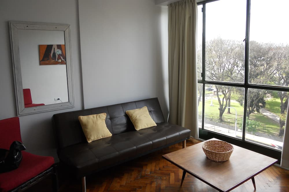 Basic Apartment, 1 Double Bed with Sofa bed, Non Smoking, City View - Living Area