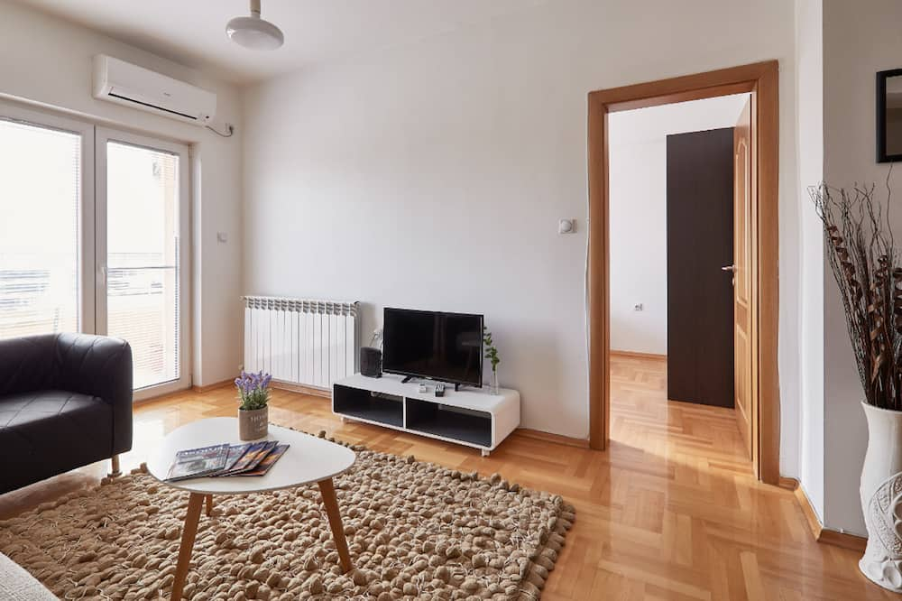 Deluxe Apartment, 1 King Bed with Sofa bed, City View - Living Area