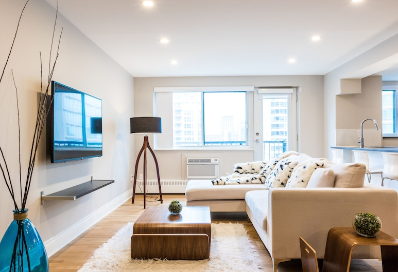 Modern Apartments in the Heart of DT by Nuage, Montreal, Apartment, Multiple Beds, Non Smoking (117-3421), Living Room
