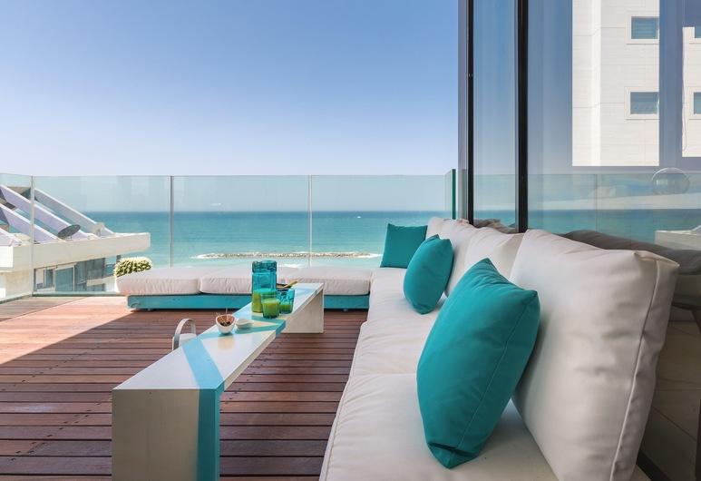 皇家海灘旁海灘前酒店, 特拉維夫, 皇室公寓, 海景, 露台