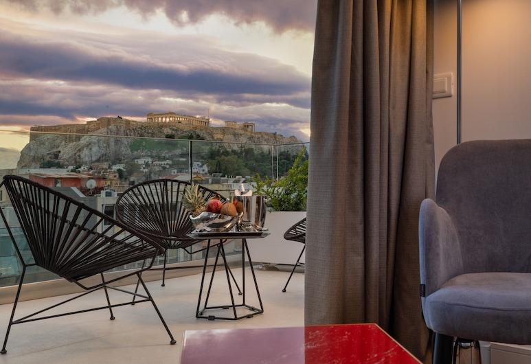 Elia Ermou Athens Hotel, Atėnai, Liukso klasės kambarys, balkonas (Hammam, Acropolis View), Vaizdas iš svečių kambario