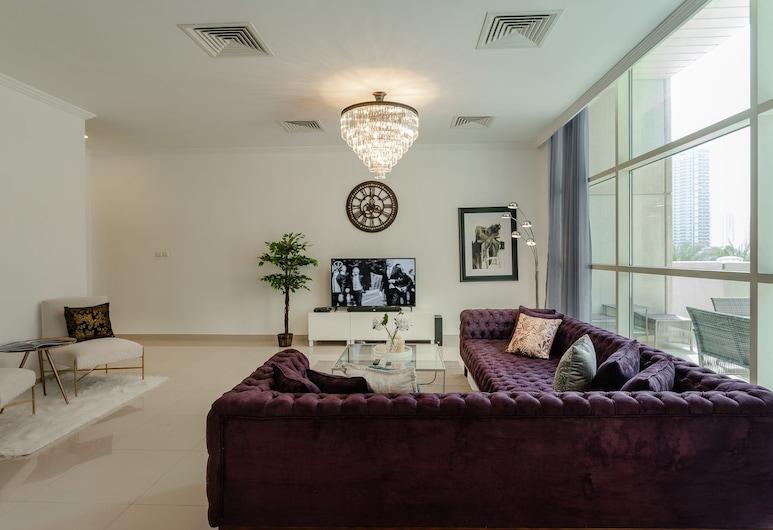 One Perfect Stay - 3BR at Al Sahab, Dubái, Villa de lujo, vista a la marina, junto al lago, Sala de estar