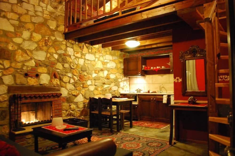 Rodinné štúdio, krb - Obývacie priestory