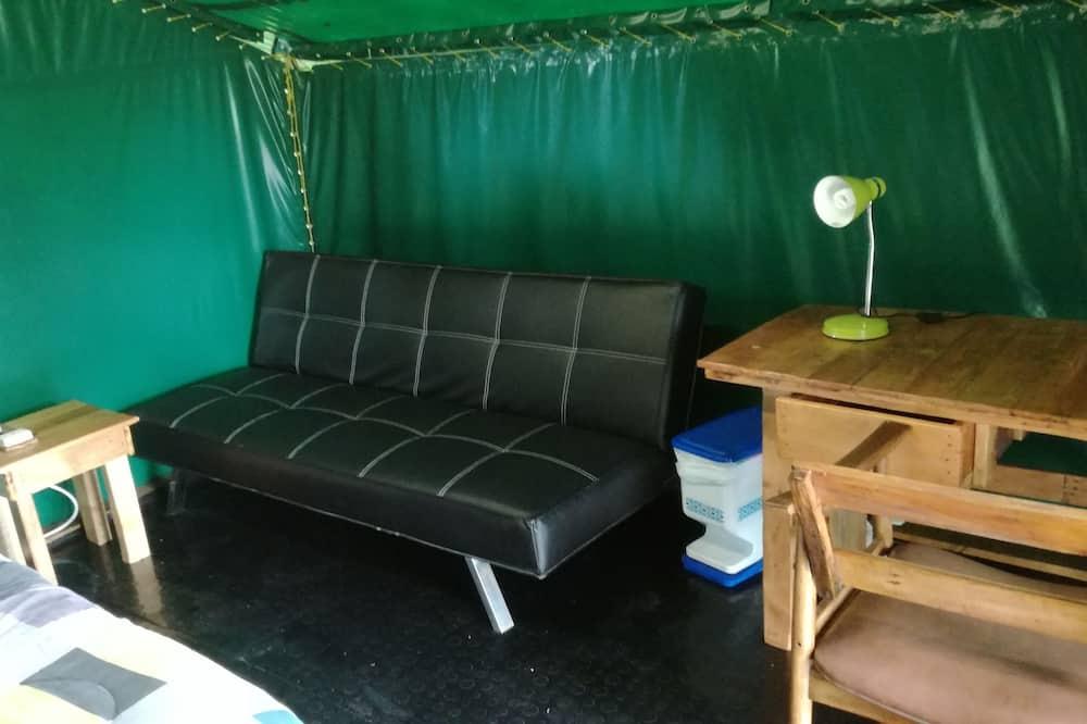 Tienda de campaña/carpa Confort, 1 cama doble con sofá cama, con acceso para silla de ruedas - Sala de estar