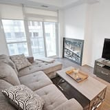 Byt typu City, 1 veľké dvojlôžko s rozkladacou sedačkou, nefajčiarska izba, výhľad na mesto - Obývacie priestory
