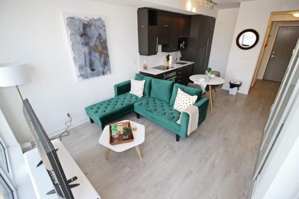 Business lakás, 1 queen (nagyméretű) franciaágy, nemdohányzó, kilátással a városra - Nappali