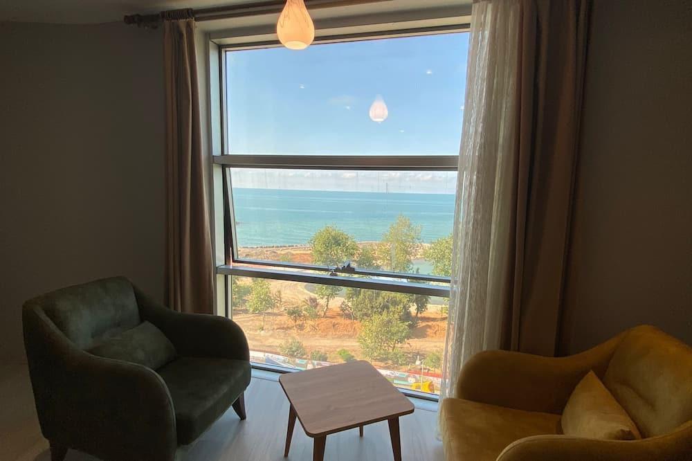 Standardní pokoj s dvojlůžkem, dvojlůžko, výhled na moře (French) - Obývací prostor