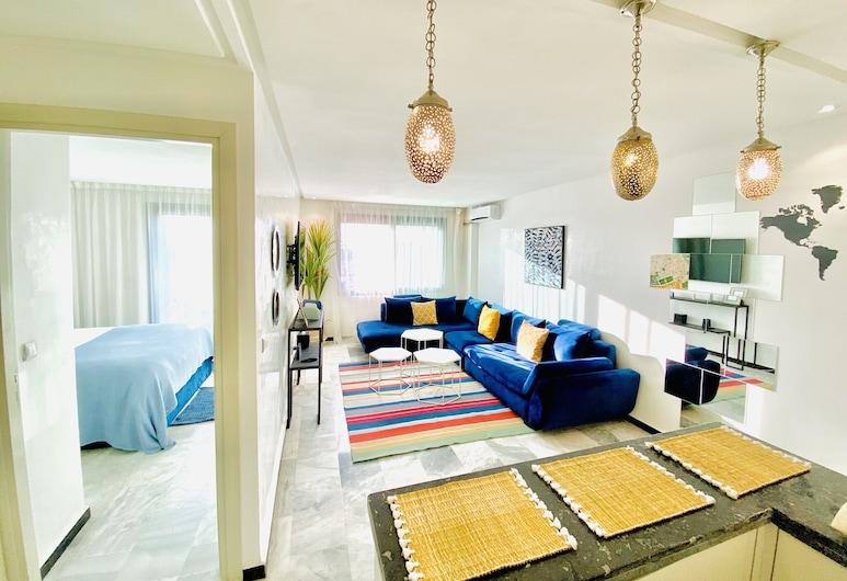 Foch Apartment, Marrakech, Design külaliskorter, 1 ülilai voodi, suitsetamine lubatud, vaade pargile, Lõõgastumisala