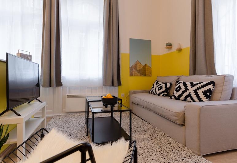 Yellow Tee Apartment, Budapeszt, Apartament, Łóżko queen i sofa, dla niepalących, widok na miasto, Powierzchnia mieszkalna