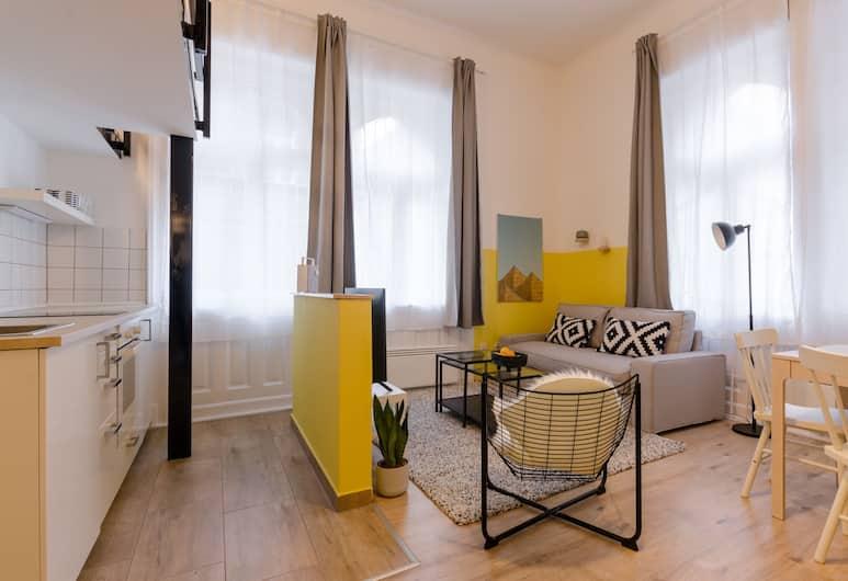 Yellow Tee Apartment, Budapeštas, Apartamentai, 1 didelė dvigulė lova ir 1 sofa-lova, Nerūkantiesiems, vaizdas į miestą, Svetainės zona