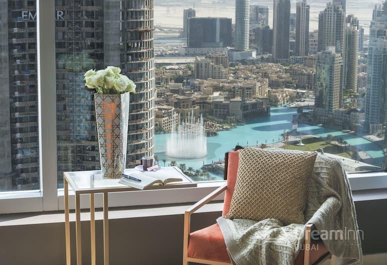 Dream Inn 48 Burj Gate Burj Khalifa View, Dubajus, Pagerinto tipo apartamentai, 2 miegamieji, vaizdas į miestą, Svetainė